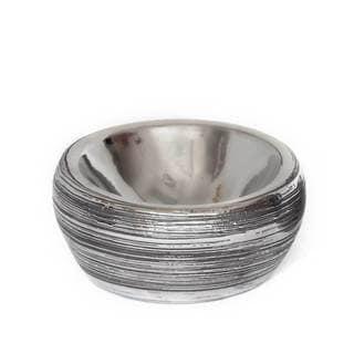 NA Tavia Silvertone Ceramic Small Decorative Bowl