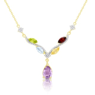 Dolce Giavonna Gold Over Sterling Silver Multi Gemstone and Diamond Accent Necklace