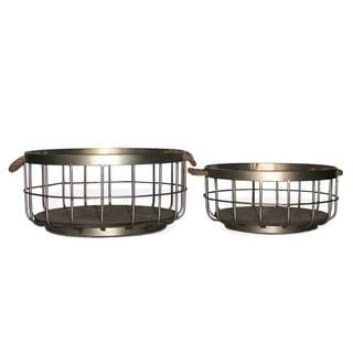 NA Henrike Wood-base Metal Hanging Wall Baskets (Set of 2)