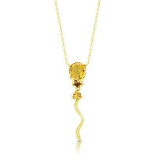 Dolce Giavonna Gold Over Sterling Silver Citrine Balloon Necklace