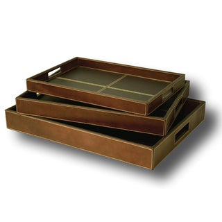 Handmade Set of 3 Vintage Leather Trays (India)