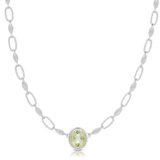 Dolce Giavonna Sterling Silver Green Amethyst Oval Necklace