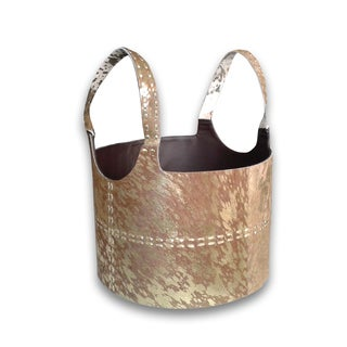Handmade Metallic Hairon Leather Magazine Basket (India)