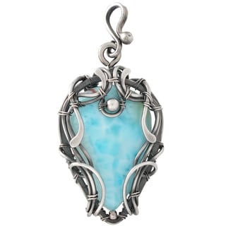 Healing Stones for You Larimar Wire Wrapped Pendant 'Brizo'