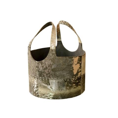 Handmade Metallic Hairon Leather Magazine Basket (India)
