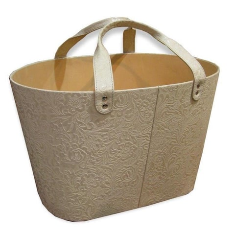 Handmade Embossed Genuine Leather Magazine Basket (India)