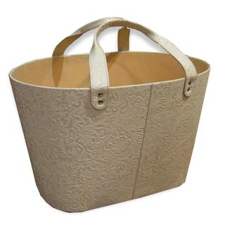 Handmade Embossed Genuine Leather Magazine Basket (India)