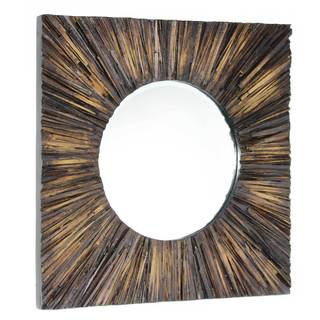 NA Fatima Brown Wood Mirror