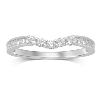 Unending Love 14k White Gold 0.33-carat Diamond Swoop Contour Wedding Band