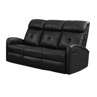 Black Bonded Leather Reclining Sofa