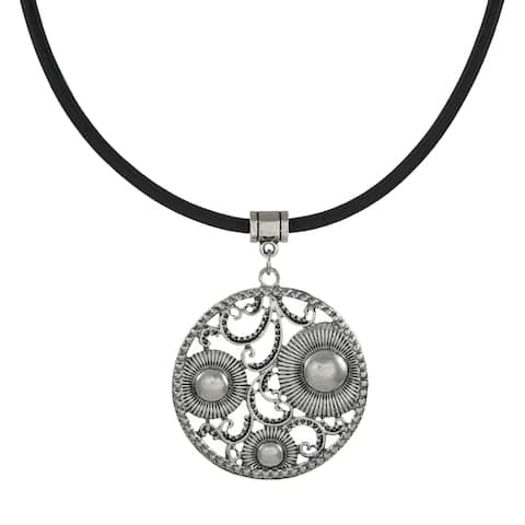 Handmade Jewelry by Dawn Round Vintage Inspired Pendant Leather Cord Necklace (USA) - Silver