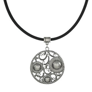 Handmade Jewelry by Dawn Round Vintage Inspired Pendant Greek Leather Cord Necklace (USA) - Silver
