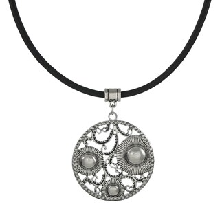 Handmade Jewelry by Dawn Round Vintage Inspired Pendant Greek Leather Cord Necklace - Silver (2 options available)