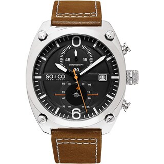 SO & CO New York Men's Quartz Monticello Leather Strap Watch