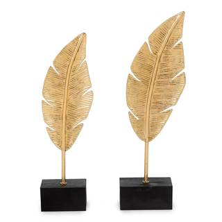 Golden Feather Figurines (Set of 2)