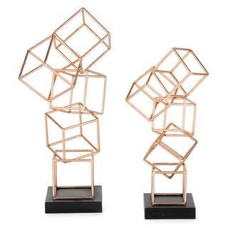 Lachlan Gold Metal Geometric Figurines (Set of 2)