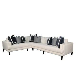 Alexis RAF Natural Wood and Off-white Fabric 2-piece Sectional