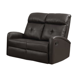 Dark Brown Bonded-leather Reclining Loveseat