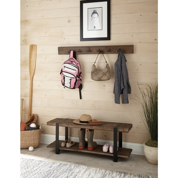 Modesto Metal And Reclaimed Wood 48 Inch Storage Coat Hook With Bench