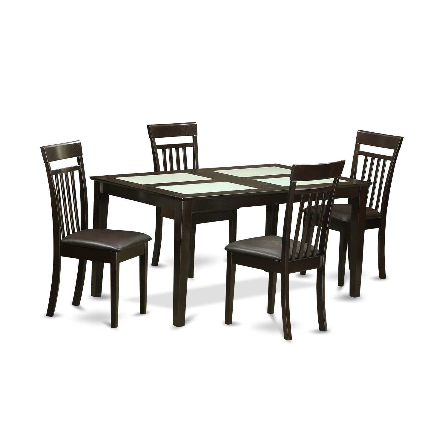 Capri Cappuccino-finished Solid Rubberwood 5-piece Dining...