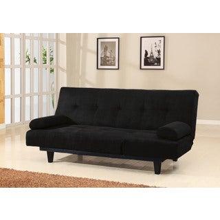 Cybil Black Faux Leather, Foam, Wood Adjustable Sofa
