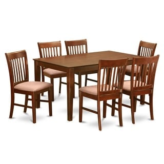 CANO7-MAH Mahogany Rubberwood 7-piece Dining Room Table Set