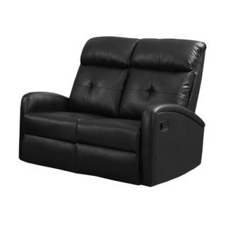 Black Bonded Leather, Foam Reclining Loveseat