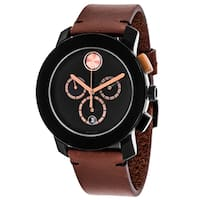 Movado Men's 3600348 'Bold' Chronograph Brown Leather Watch