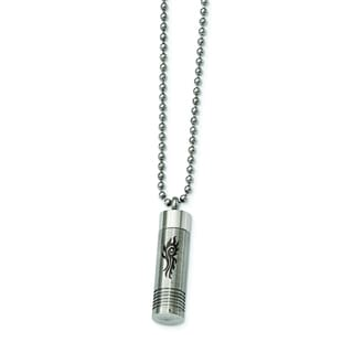 Versil Stainless Steel 22-inch Brushed and Polished Laser-design Capsule Necklace