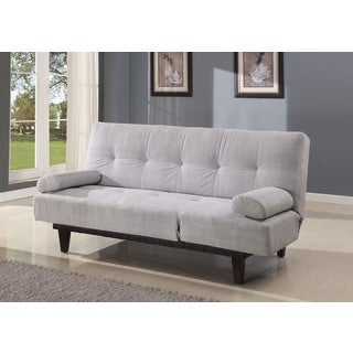 Cybil Adjustable Sofa with 2 Pillows, Silver Microfiber