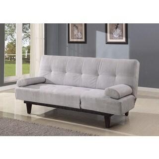 Cybil Adjustable Sofa with 2 Pillows, Silver Microfiber