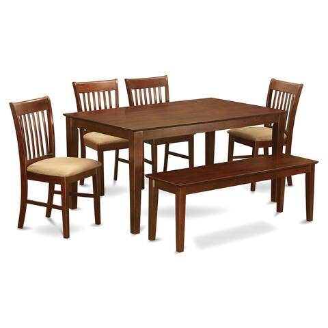Capri Mahogany Finish Solid Rubberwood 6-Piece Dining Set with Table, Four Chairs and One Dining Bench