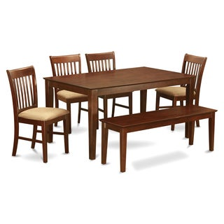 Capri Mahogany Finish Solid Rubberwood 6-Piece Dining Set with Table, Four Chairs and One Bench