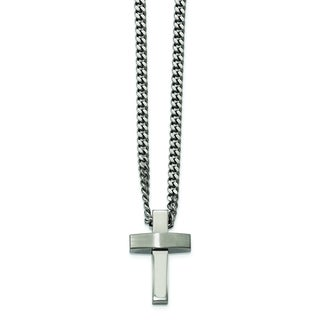 Versil Chisel White Stainless Steel 20-inch Brushed and Polished Cross Necklace