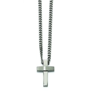 Chisel White Stainless Steel 20-inch Brushed and Polished Cross Necklace