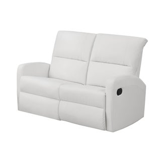 White Bonded Leather Reclining Loveseat