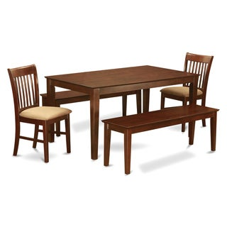 Capri Mohogany Finish Solid Rubberwood 7-Piece Dining Room Set with Table, Four Upholstered Chairs and Two Benches