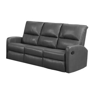 Monarch Charcoal Grey Bonded Leather Reclining Sofa (Option: Grey)