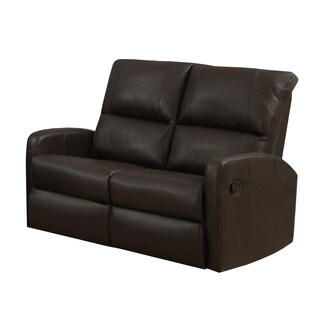Dark Brown Bonded Leather Reclining Loveseat