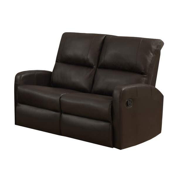 Dark brown bonded leather reclining loveseat free for Home goods loveseat