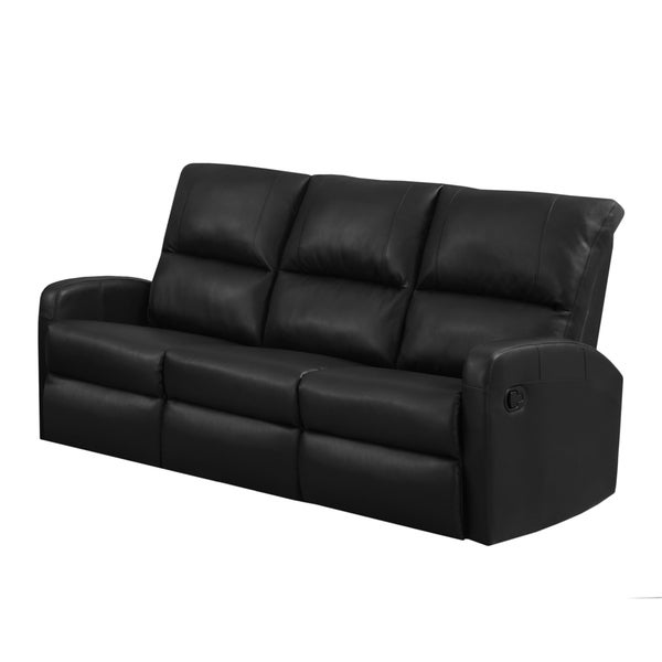 monarch black bonded leather reclining sofa free shipping today