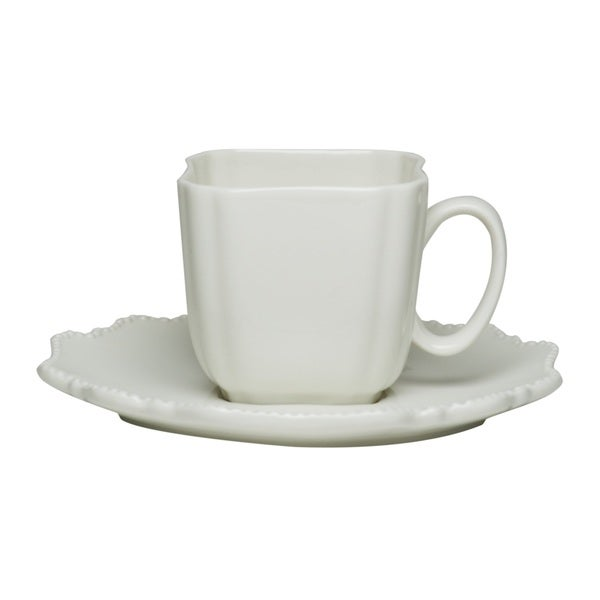 Red Vanilla Pinpoint White 6-ounce Teacup and Saucer (Set of 6)
