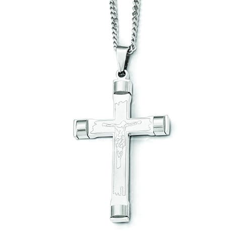 Chisel White SS 22-inch Brushed and Polished Cross Necklace