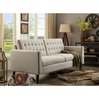 Moser Bay Furniture Estrella Beige Linen, Polyester, Wood-tufted Sofa
