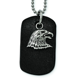 Versil Stainless Steel Black Leather Dog Tag with Eagle Necklace