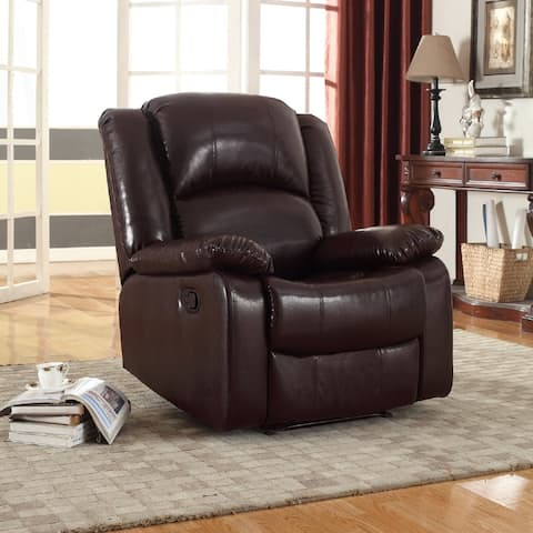 Samantha Bonded Leather Wall-Hugger Gliding Manual Recliner, Brown