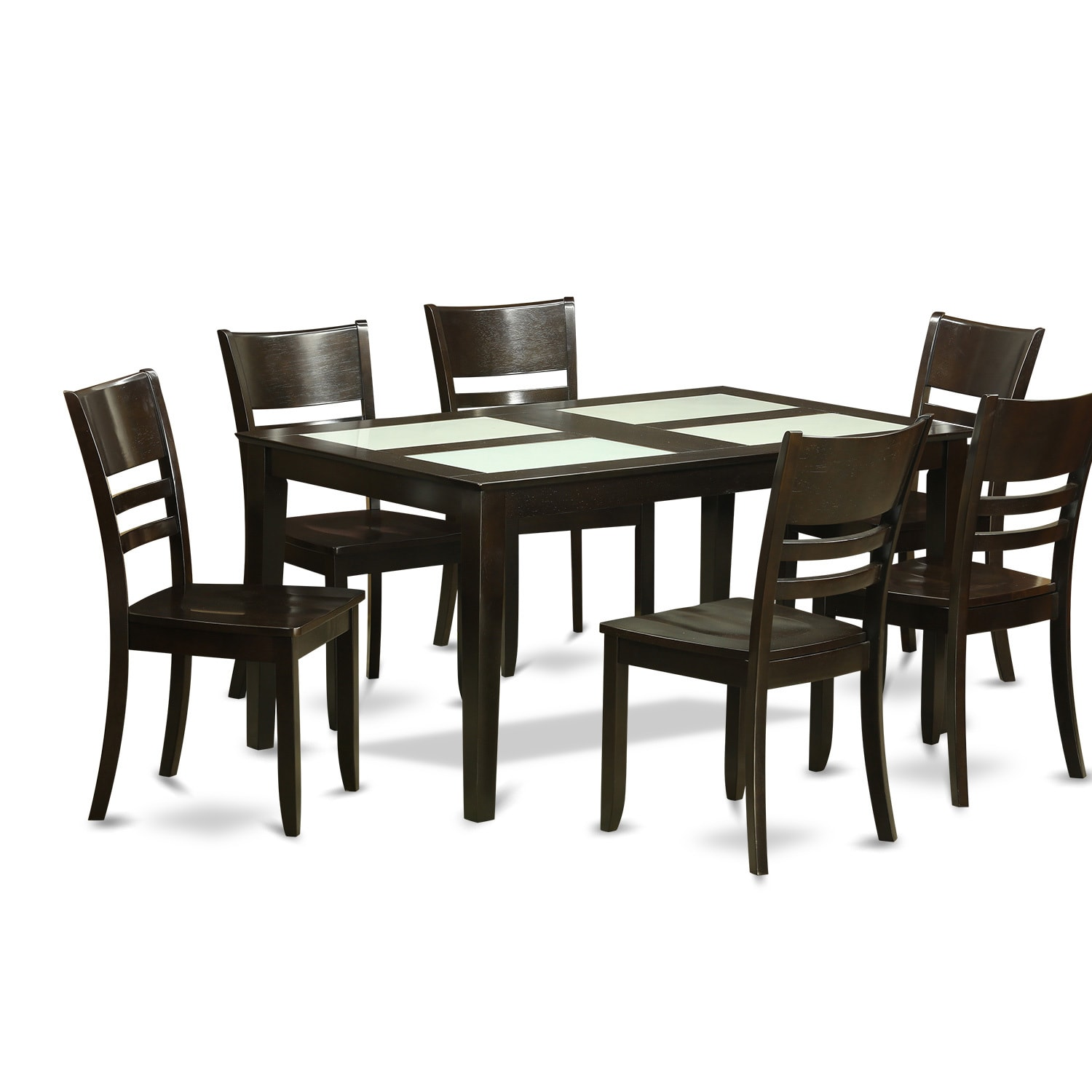 Cappuccino And Ivory Finish Rubberwood 7 Piece Dining