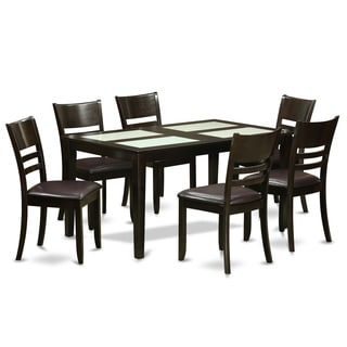 Cappuccino and Ivory Finish Rubberwood 7-piece Dining Room Set with Glass Top Dining Table, and 6 Chairs