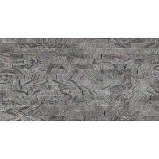 Bedrosians Split Face Ledger Black and Grey Stone Tiles (Pack of 7 Tiles)