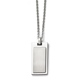 Versil Stainless Steel Brushed and Polished 22-Inch Cable Chain Dog-Tag-Style Necklace